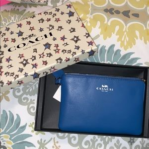 Coach Never Used Blue Wristlet with Box